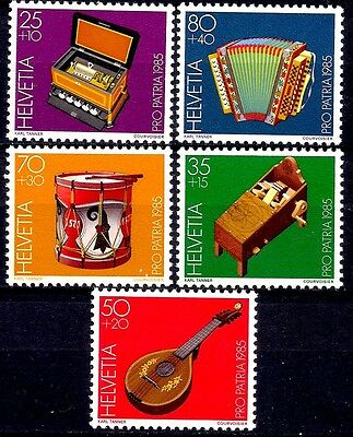 Switzerland 1985 Old musical instruments Music Box Accordion Drum Halszither MNH