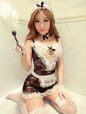 Set Costume Completino Cameriera Maid Serva Sexy Cosplay Lace Lingerie Calze Sex