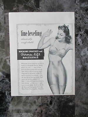 "Vintage 1942 Hickory Panties & Perma Lift Brassieres Print Ad, 7"" X 5.4"""