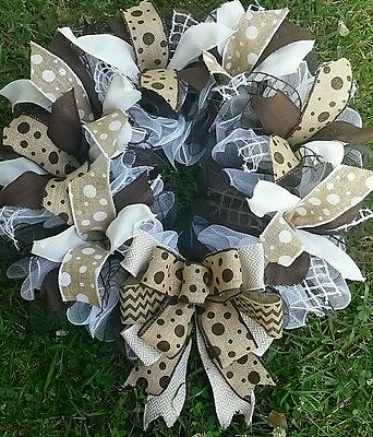 25x28 Brown & Ivory White Chevron and Polka Dot Burlap Wreath with Rope Accents