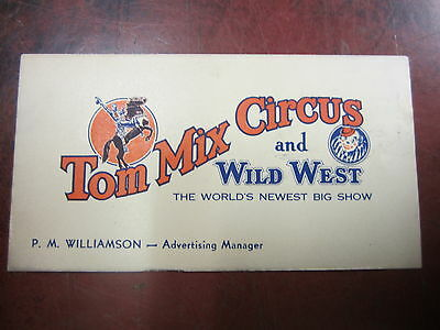Early 1900's TOM MIX CIRCUS and WILD WEST Show Business Card - Original