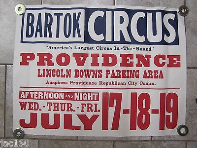 """Orig Old Circus Poster - BARTOK CIRCUS """"AMERICA'S LARGEST CIRCUS IN-THE-ROUND"""""""