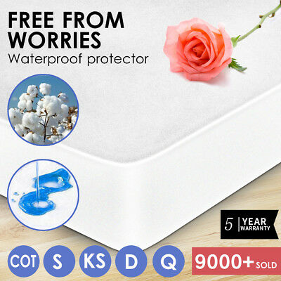 Fully Fitted Waterproof Cotton Mattress Protector All Sizes Pillow Cover