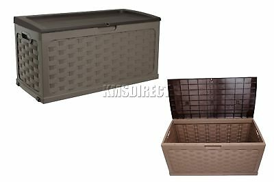 Starplast Outdoor Rattan Style Plastic Storage Chest Shed Box Sit-On Lid Mocha