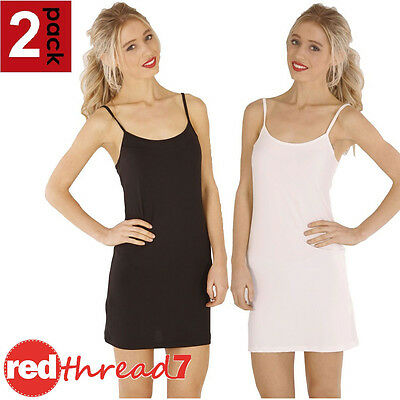 Womens 2 Pack Spandex Slip Dress Singlet Cami Camisole Long Top Nude White Black