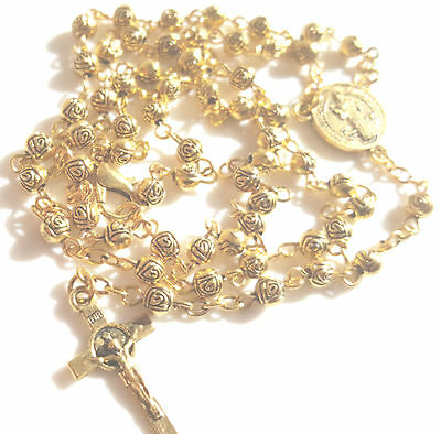 St. Benedict Catholic Rosary Rose Cross Beads Necklace Crucifix 18K Gold Antique