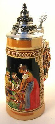 Limited Edition Collectable German Lidded Beer Stein. Hand-painted Old Men