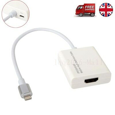 8pin Lightning Dock to HDMI Cable Adapter for iPhone 5S/SE 6/6S Plus iPad Air UK