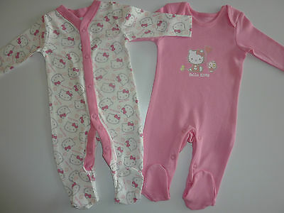 HELLO KITTY 2 Gorgeous Little Girls Sleepsuits So Cute!! NEW in PACK