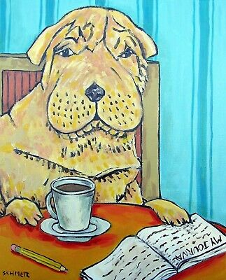 chinese shar pei coffee signed art print 8x10 artist impressionism animals