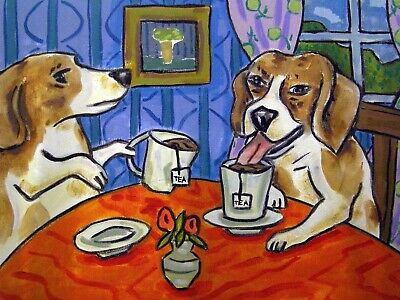 Beagle Tea Party 13x19 signed art PRINT of painting painting poster  modern dog