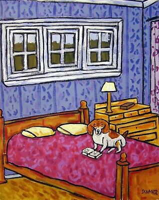 Beagle reading a bedtime story 13x19 signed dog art PRINT of painting JSCHMETZ