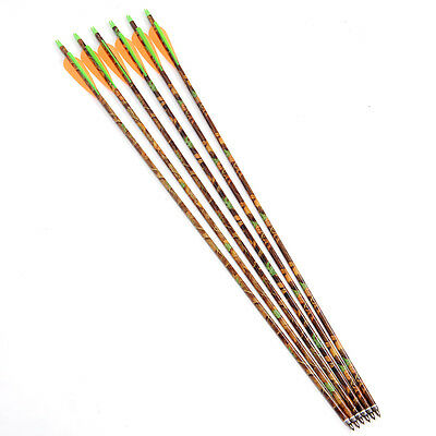 "Camouflage Aluminum Arrow 30"" Plastic feather F/ Compound bow Replaceable Tip X6"