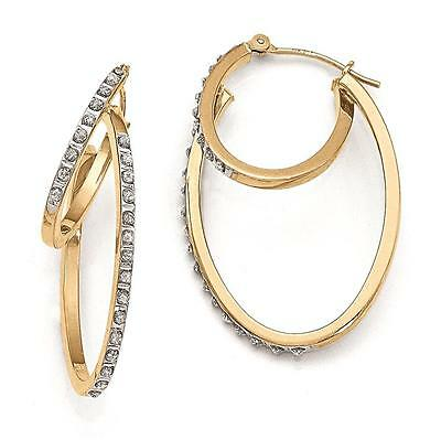 14k Yellow Gold Diamond Fascination Hinged Double Hoop Earrings 31mm x 2mm