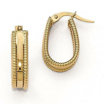 7aff5d91c Leslies 14k Yellow Gold Polished Textured Oval Fashion Fancy Hoop Earrings
