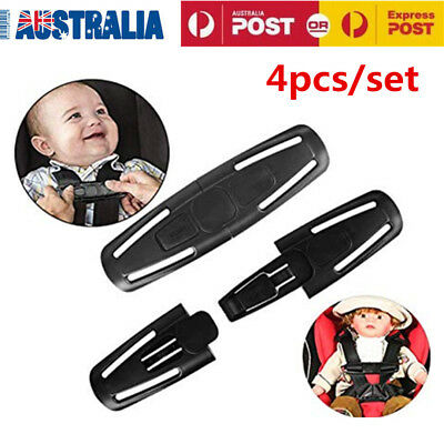 4x Baby Safety Car Seat Strap Child Toddler Chest Harness Clip Safe Buckle Black