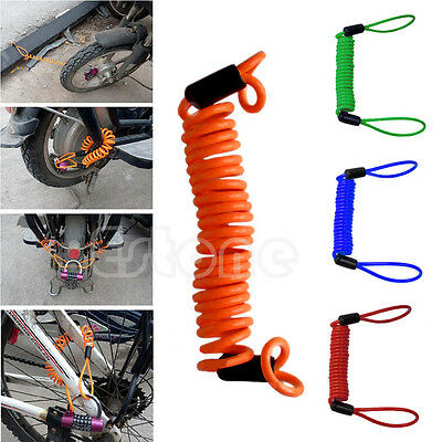 Motorbike Motorcycle Scooter Disc Lock Security Spring Reminder Cable 150cm
