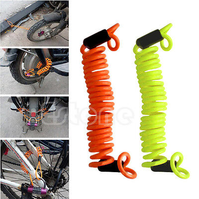 Motorbike Motorcycle Scooter Disc Lock Security Spring Reminder Cable 120cm
