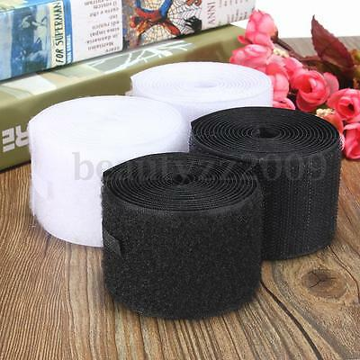 Heavy Duty Self Adhesive Sticky Hook Fastening Tape Black or White Loop New