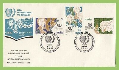 Malta 1985 Youth Year set on MPO First Day Cover, Valleta