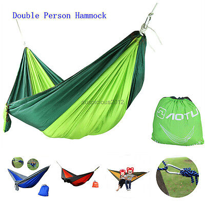 Double Outdoor Hammock Swing Bed Portable Parachute Nylon Fabric 2 person Travel