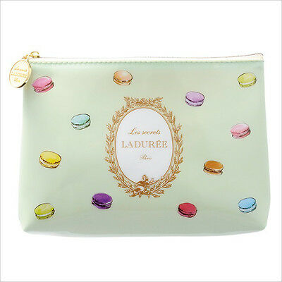 LADUREE Macaron Japan ❤ PVC Zipper Flat Pouch S Green