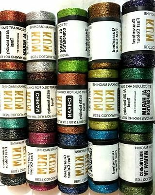 NEW 15 x METALLIC MULTI EMBROIDERY SPOOLS 15 ASSORTED COLOURS 400 YARDS THREADS