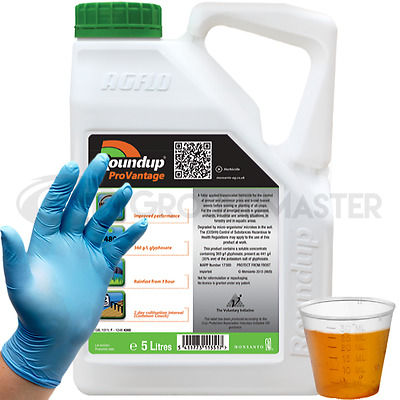 1 x 5L Roundup Pro Vantage 480 Strong Glyphosate Weedkiller + Free Cup & Gloves