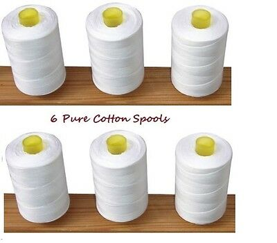 New White 6 x Pure100% Cotton Sewing Machine Thread 800M Large Spools Reels