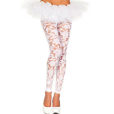 White Spandex Floral Footless Leggings One Size Regular  ML35344