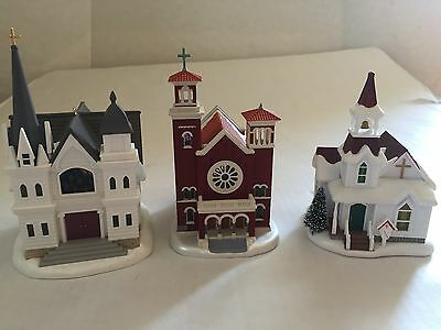 Hallmark Country & Old Brick Church Chapel Candlelight Christmas Ornament Lot