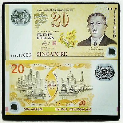 Singapore $20 P53 2007 40 Cia Commemorative Unc Polymer Currency Money Note