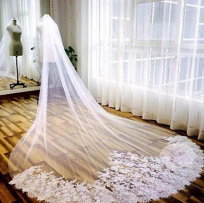 3M Long Cathedral Length 1 T Lace Bridal Wedding Veil With Comb