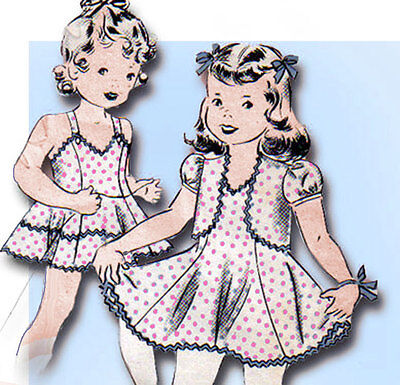 1940s Vintage Hollywood Sewing Pattern 704 Toddler Girls Sun Dress & Topper Sz 6