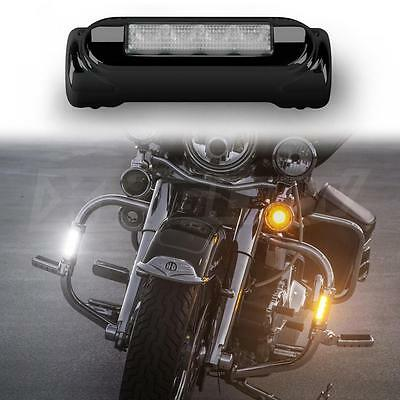 Black Crash Bar Lights LED White Amber Motorcycle Harley Touring DRL Turnsignals