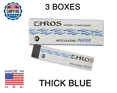 "3 BOXES DENTAL ARTICULATING PAPER THICK (0.005"") BLUE 432 Sheets MADE IN USA"