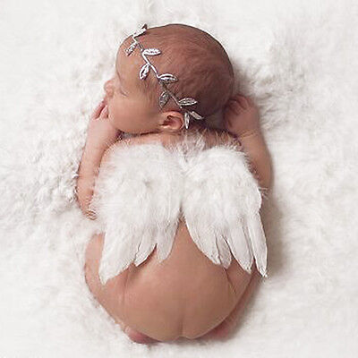 0-6M Newborn Angel Baby Hair Band Headband+ Wing Costume Photography Prop Outfit