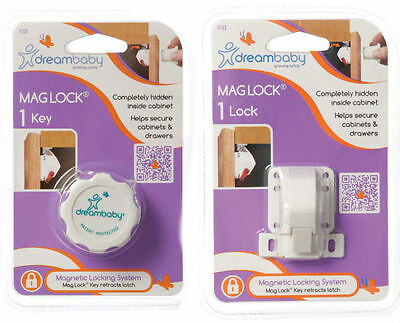 New Dreambaby Mag Lock 1 Lock 1 Key Magnetic Cabinet Drawer Baby Safety Dream