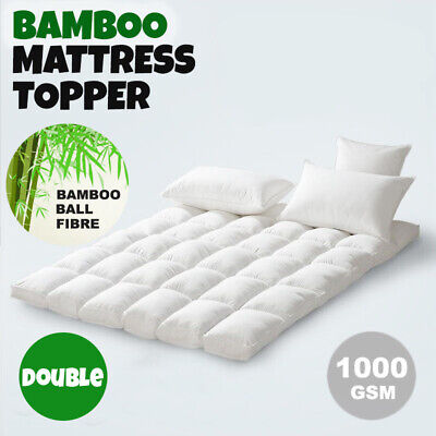 Double SIZE-Luxury Bamboo Ball Fibre Pillowtop Mattress Topper Protector Pad