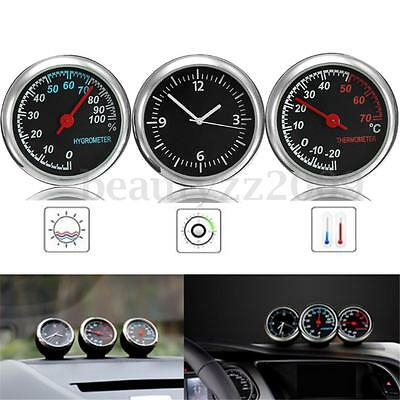 3pcs Car Thermometer Temp Humidity Meter Quartz clock Temperature Hygrometer Set