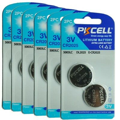 12X PKCELL CR2025 DL2025 CR 2025 Lithium 3V Watch Battery Coin Cell Fast Ship