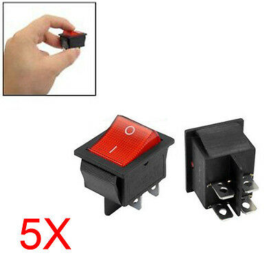 5pcs Mini 4Pin 2Position DPST ON-OFF Snap in Car Rocker Switch W Red Lamp