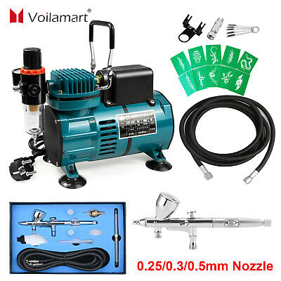 Voilamart Air Compressor Brush 3 Needles Dual Action Airbrush Spray Gun Hose Kit