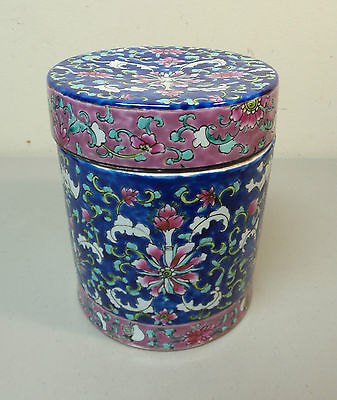 "19th C. ANTIQUE CHINESE EXPORT ""FAMILLE ROSE"" LARGE LIDDED JAR, c. 1850-1899"