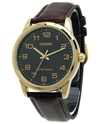 Casio Men's Quartz Gold Tone Stainless Steel Brown Leather Watch MTPV001GL-1B
