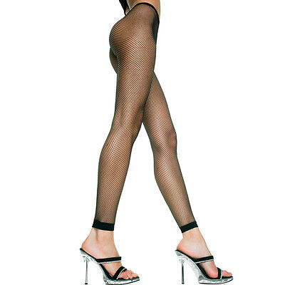 Black Spandex Footless Fishnet Leggings One Size Regular Lingerie ML9005