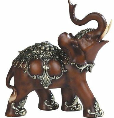 Thai Trunk Up Lucky Elephant Wood Look Collectible Statue Figurine Perfect Gift