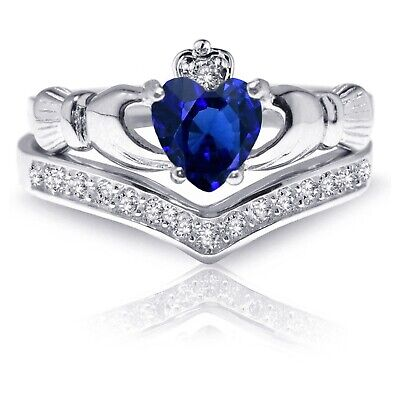 Heart Irish Celtic Blue Sapphire Claddagh Wedding Engagement Silver Two Ring Set