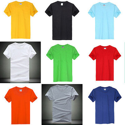 Mens Plain T Shirts Solid Cotton Short Sleeve Basic Tee Top Shirts M-3XL