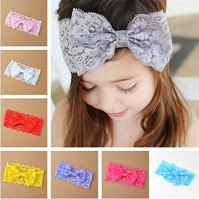7PCS Kids Girl Baby Girls Headband Toddler Lace Bow Flower Hair Band Accessories